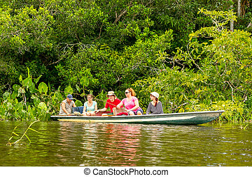 Boat With Tourists In Amazonian Jungle - Tourists Fishing...