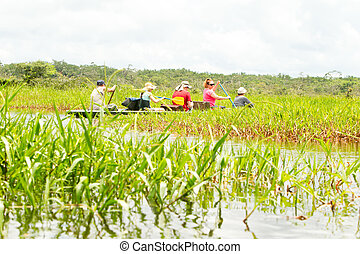 Tourism In Amazonian Jungle - Tourists Fishing Legendary...