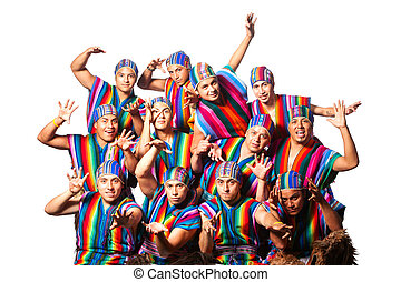 Ecuadorian Folkloric Group Dressed Up In Traditional...