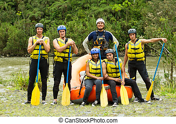 Whitewater River Rafting Team - Large Group Of Young People...