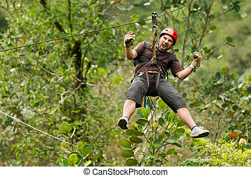 Zip Line Adventure - Adult Man Zip Line Adventure In...