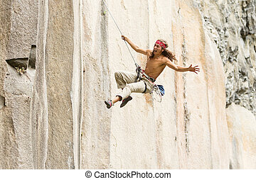 Rock Climber Jumping - Rock Climber Jump May Very Well...