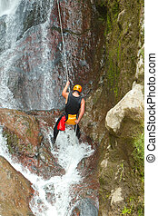 Rappelling Tall Canyon Waterfall - Canyoning On Pucayacu...
