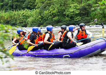 Whitewater River Rafting Boat With Tourists - Group Of...