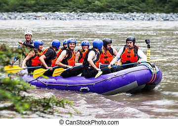 Tourism Attraction On Pastaza River - Group Of Tourists...
