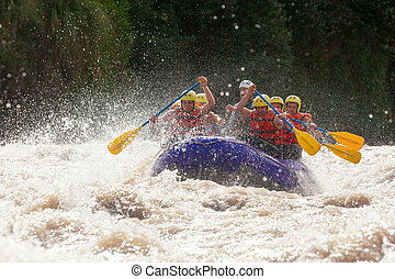 Whitewater River Rafting - Group Of Mixed Tourist Men And...
