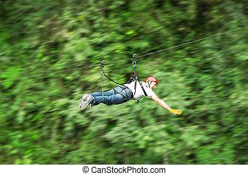 Zip Line In Superman Position - Zip Line Motion Blurred...