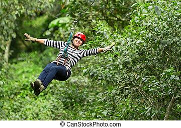 Woman On Zip Line - Adult Woman On Zip Line Ecuadorian Andes