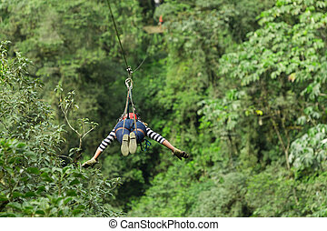 Woman On Zip Line - Adult Woman On Zip Line Ecuadorian Andes