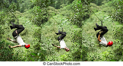Zip Line Sequence - Zip Line Three Images Sequence Adult Man...