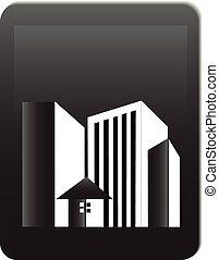 verdadero, logotipo, edificios, oficinas, propiedad