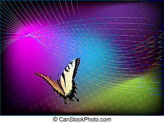 Vivid background with flying butterfly template