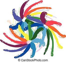 Rainbow flowers paint logo - Abstract spiral waves rainbow...