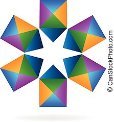 Geometric star shape logo vector