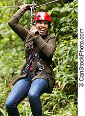 Afro Woman On Zip Line Close Up Portrait - Adult Slim Afro...