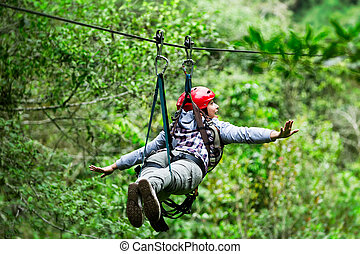 Tourist Woman On Zip Line Ecuadorian Rain Forest - Adult...