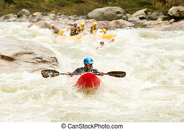Lead The Way - Large Rafting Boat Chasing A Kayak On Pastaza...