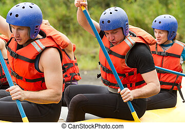 Whitewater River Rafting Training - Group Of Young Athletes...