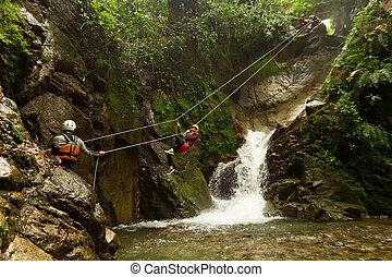Canyoning Zip Line - Improvised Zip Line During A Canyoning...