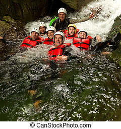 Authentic Canyoning Trip - Group Of Active Young People...