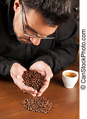 Quality Coffee Selection - Coffee Sommelier Examining...