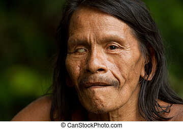 Amazonian Indigenous Waorani Hunter - Huaorani Male Portrait...