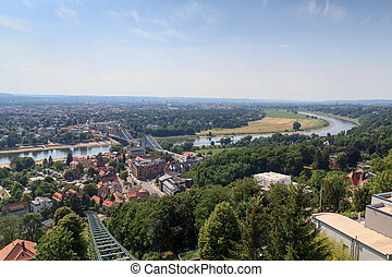 View of Dresden cityscape with Dresden Suspension Railway...