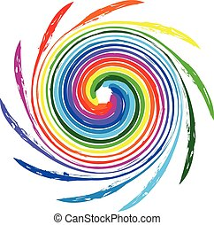 Logo spiral waves rainbow color - Abstract spiral waves...