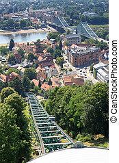 Dresden Suspension Railway tracks, river Elbe and bridge