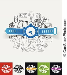 watch paper sticker with hand drawn elements - hand drawn...