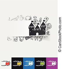 fortress paper sticker with hand drawn elements - hand drawn...
