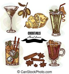Hand drawn sketch cocktail set. Vector illustration