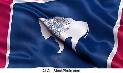 Wyoming state flag seamless loop - Realistic Wyoming state...