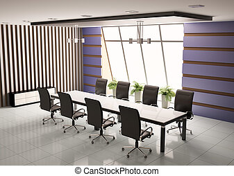 conference room 3d - conference room with eight armchairs...