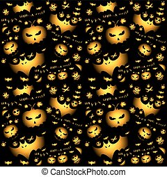 Halloween gold vector pattern