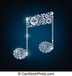 Music note with concept diamond