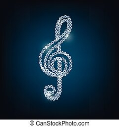 Treble clef with concept diamond