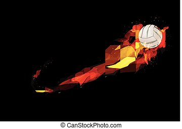 Fire burning volleyball