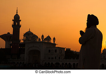 silhouette of pilgrim praying at the holy temple of amritsar, india