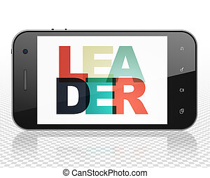 Business concept: Smartphone with Leader on  display