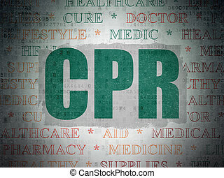 Healthcare concept: CPR on Digital Paper background -...