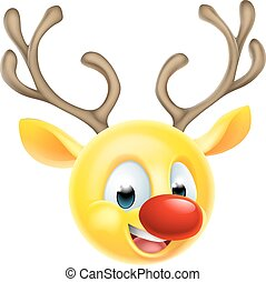 Christmas Reindeer Emoticon Emoji - Cartoon Santas Christmas...