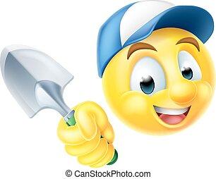 Gardener Emoticon Emoji with Trowel - A cartoon gardener...