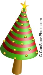 Conical Christmas tree with shiny balls