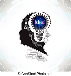 human head with gears and cogs working together idea concept on electronic technology background vector