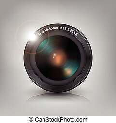 Lens camera background vector