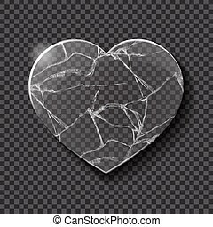Broken heart made from glass - Illustration of broken heart...