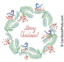 christmas-wreath - Christmas card with wreath and birds...