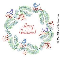 christmas-wreath - Christmas card with wreath and birds...