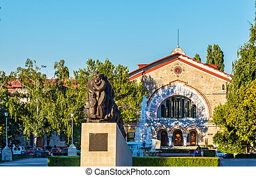 Monument to Stalin victims and the Railway Station in...